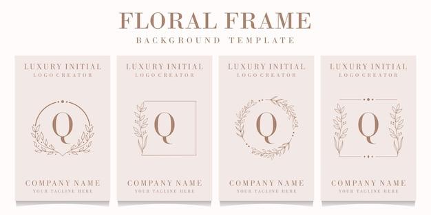 Design do logotipo da letra q de luxo com modelo de moldura floral