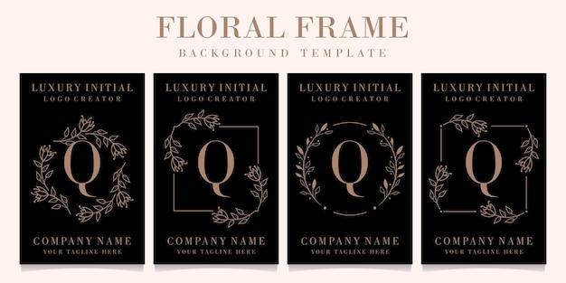 Design do logotipo da letra q de luxo com modelo floral de fundo
