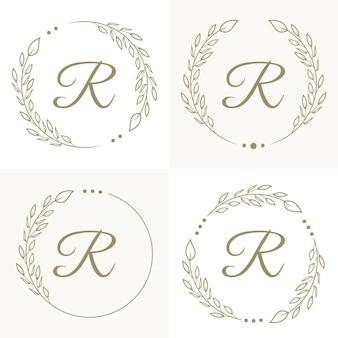 Design do logotipo da letra r de luxo com modelo de fundo de moldura floral