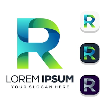 Design do logotipo da letra r isolado no branco