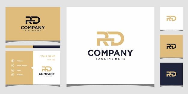 Design do logotipo da letra rd e cartão de visita premium vector