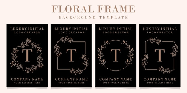 Design do logotipo da letra t de luxo com modelo floral de fundo