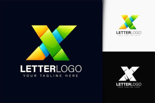 Design do logotipo da letra x com gradiente