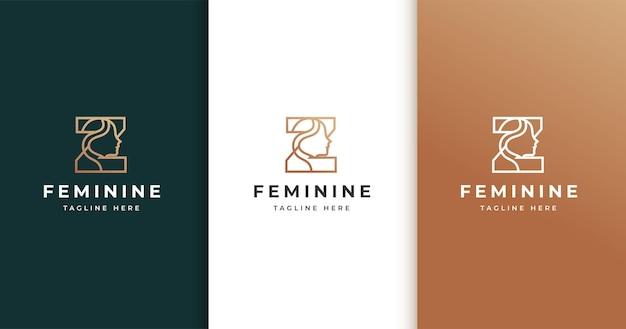 Design do logotipo da letra z com rosto de mulher