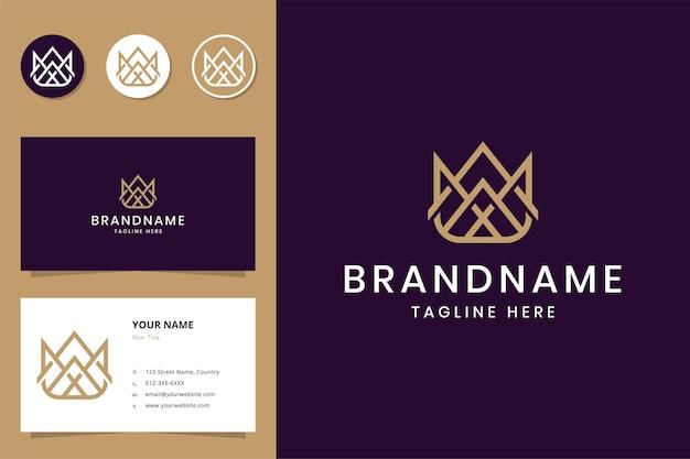 Design do logotipo da linha de arte da coroa