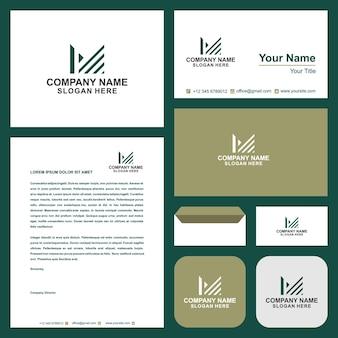 Design do logotipo da linha letra m linear criativo mínimo monocromático e cartão