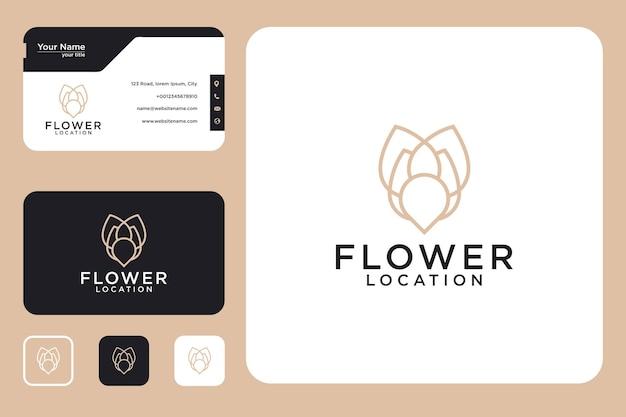 Design do logotipo da localização da flor e cartão de visita