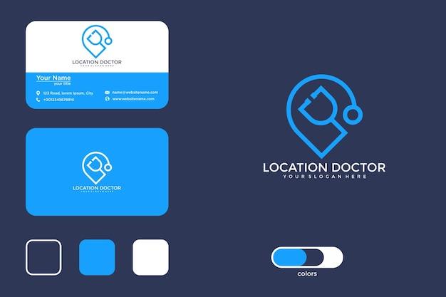Design do logotipo da localização do médico e cartão de visita