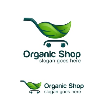 Design do logotipo da loja ecológica verde, símbolo do logotipo do mercado de alimentos orgânicos
