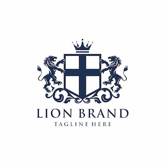 Design do logotipo da marca heráldica lion