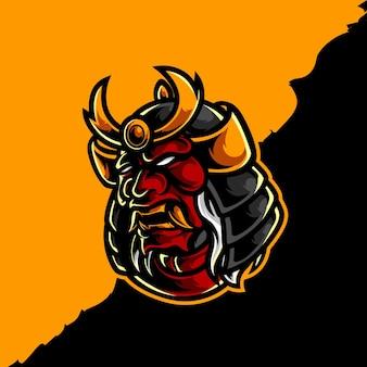 Design do logotipo da máscara samurai oni