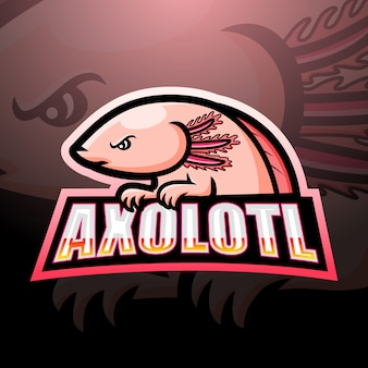 Design do logotipo da mascote axolotl esport