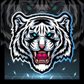 Design do logotipo da mascote com cabeça de tigre branca e esport