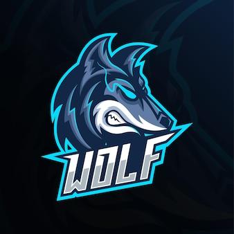Design do logotipo da mascote da cabeça de lobo zangado azul esport. vista lateral design do logotipo da cabeça de lobo