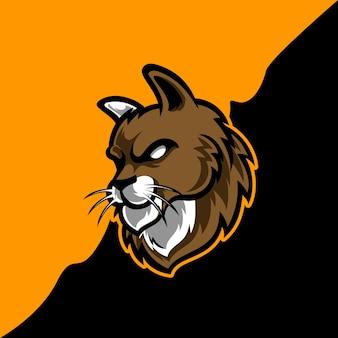 Design do logotipo da mascote da cabeça do gato