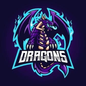 Design do logotipo da mascote do dragão. dragão roxo com chamas azuis
