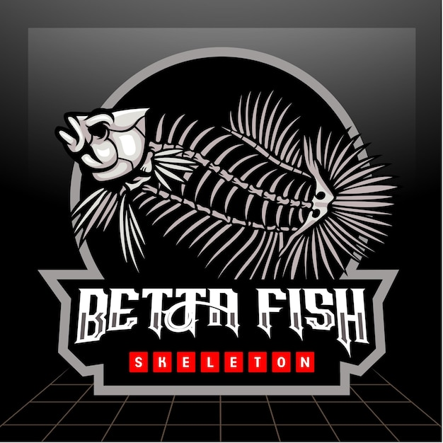 Design do logotipo da mascote do esqueleto do peixe betta