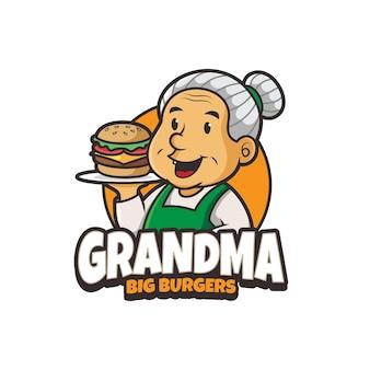 Design do logotipo da mascote do hambúrguer da vovó