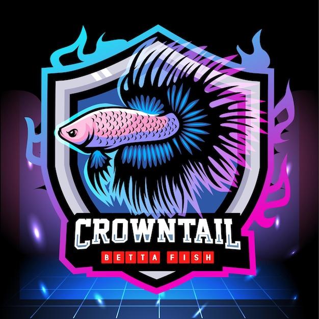 Design do logotipo da mascote do peixe betta cauda da coroa esport