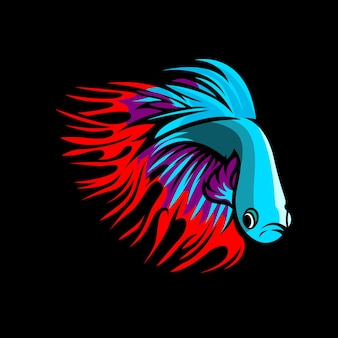 Design do logotipo da mascote do peixe betta cauda da coroa esport