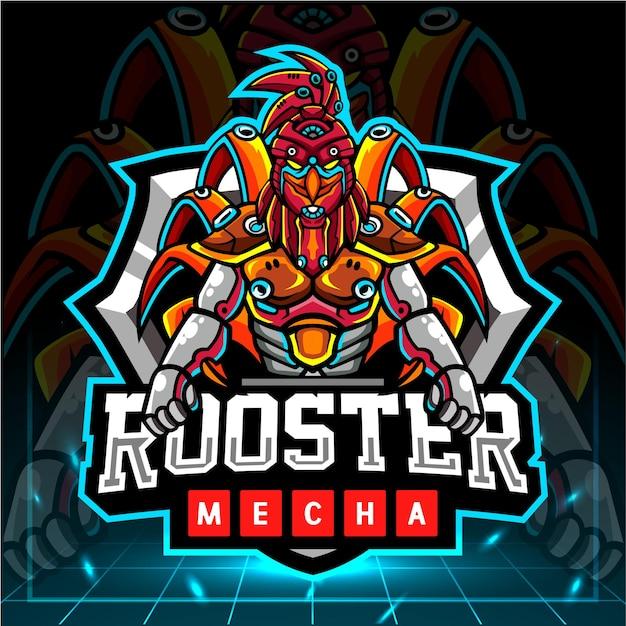Design do logotipo da mascote do robô rooster mecha