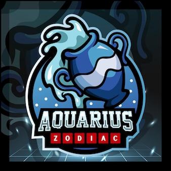 Design do logotipo da mascote do zodíaco aquarius