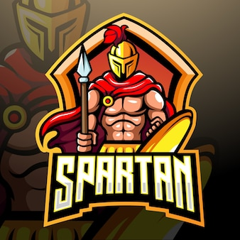 Design do logotipo da mascote espartana e esport