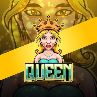Design do logotipo da mascote queen esport Vetor Premium
