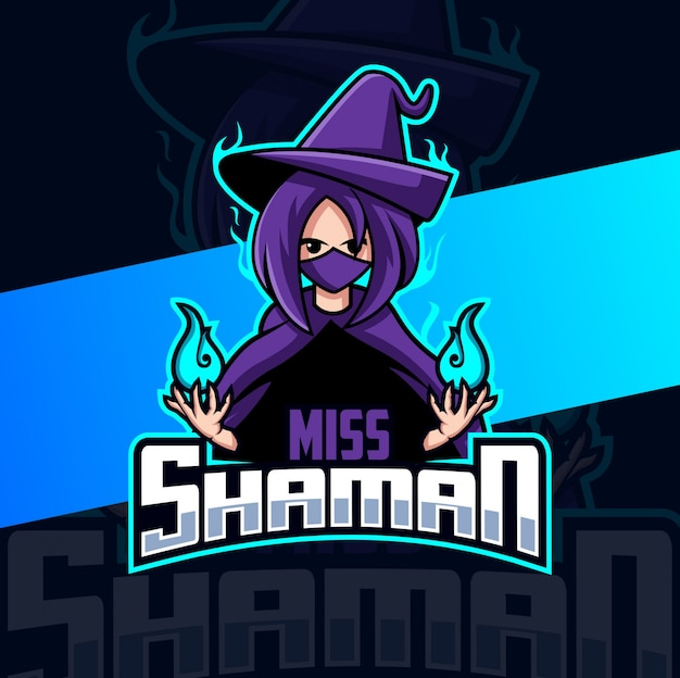 Design do logotipo da mascote shaman girl esport