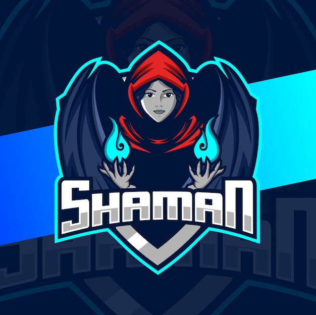 Design do logotipo da mascote shaman girl esport