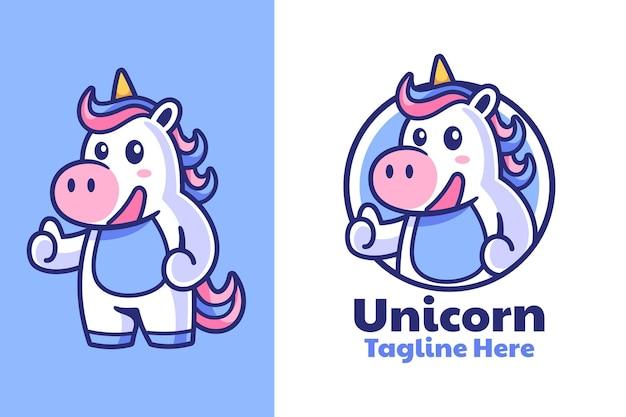 Design do logotipo da mascote unicorn thumbs up