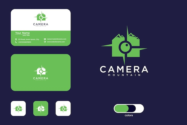 Design do logotipo da montanha da câmera e cartão de visita