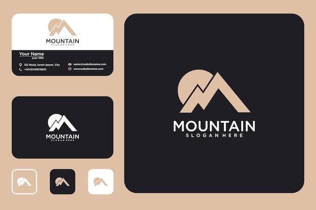 Design do logotipo da montanha e cartão de visita