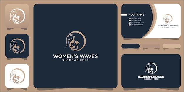 Design do logotipo da mulher e das ondas