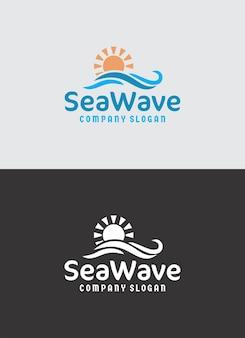 Design do logotipo da onda do mar