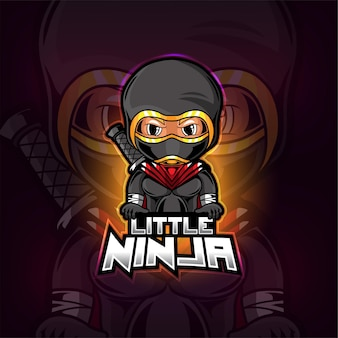Design do logotipo da pequena mascote ninja esport
