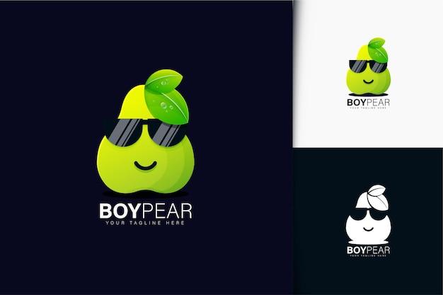 Design do logotipo da pêra com gradiente