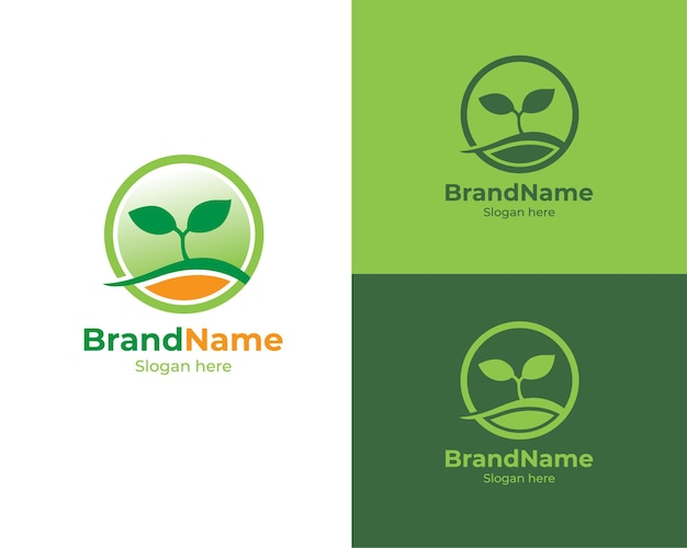 Design do logotipo da planta do círculo