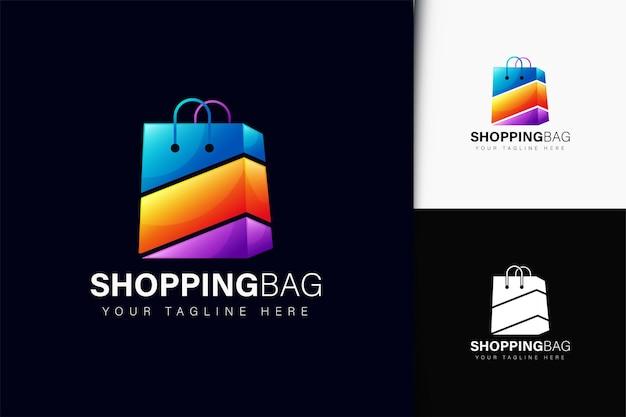 Design do logotipo da sacola de compras com gradiente