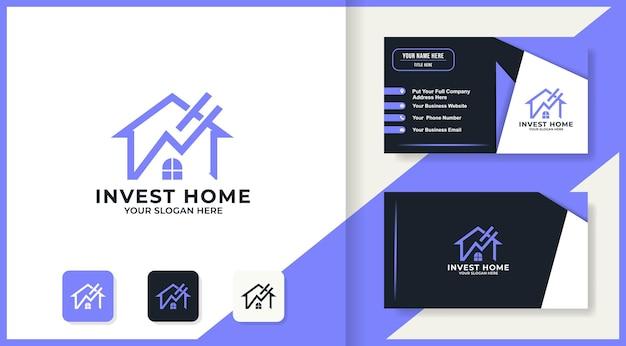 Design do logotipo da seta para casa e cartão de visita