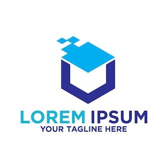 Design do logotipo da tecnologia box blockchain