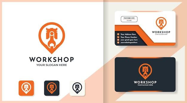 Design do logotipo de localização do pino do pistão e cartão de visita