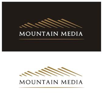 Design do logotipo de mountain peak hill mount com estilo minimalista simples e moderno