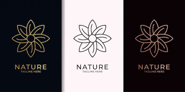 Design do logotipo de ouro de elegan da folha da natureza