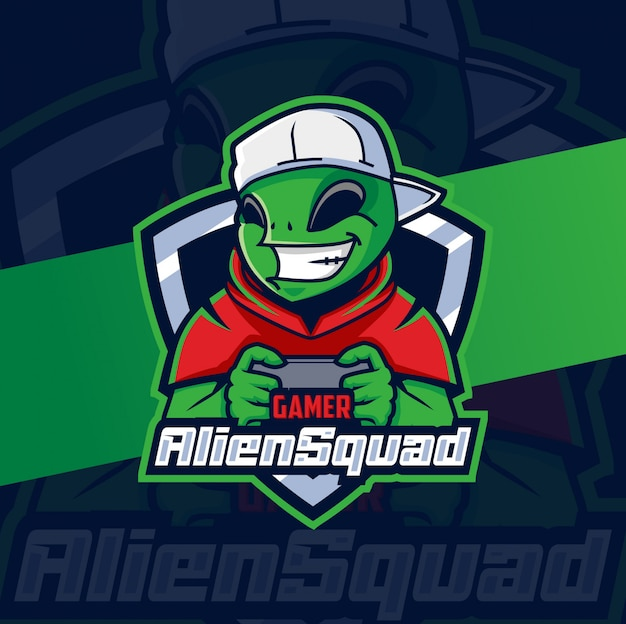 Design do logotipo do alien squad gamer mascote esport