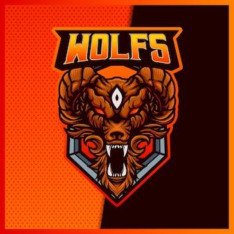 Design do logotipo do angry wolves esport e do mascote do esporte