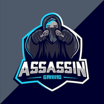 Design do logotipo do assassino com arma mascote esport