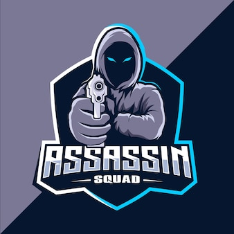 Design do logotipo do assassino com mascote de armas