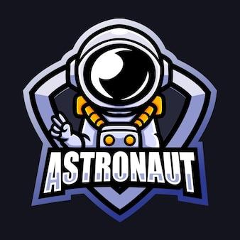 Design do logotipo do astronauta mascote esport