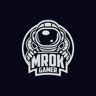 Design do logotipo do astronauta mrok gamer